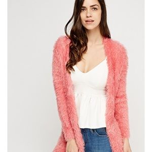 Sweaters - Pink Eyelash Cardigan